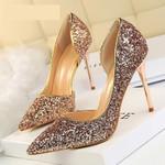 New Pumps Sexy High Gold kitten heels Sliver Wedding Shoes