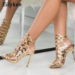 New Design Open ToeThin Heels Gladiator  Sandals Champagne Fashion