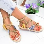 Fashion Shoes Flat Hemp Rope Lace Up Gladiator Sandals