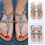 NEW shining rhinestones shoes bohemia diamond sandals T-strap thong flip