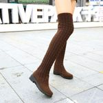 Thigh High Shoes Knitting Wool Long Boot