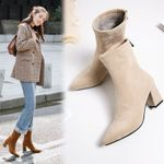Fashion Ankle Elastic Sock Boots Chunky High Heels Stretch