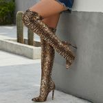 Over The Knee Suede Boots Snake High Heels Plus Size Stripper