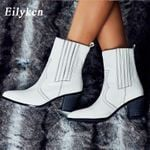 Cossacks White Colors PU Leather Cowboy Ankle Boots