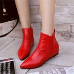Booties Classic Black Flat Heel Ankle Boots  Fashion
