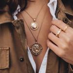 pendant bohemian double-layer necklace retro gold