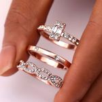 Fashion Infinity Set Crystal Twist Ring Couples Gold