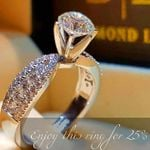 Crystal White Zircon Stone Ring Simple Round Style  Silver Wedding