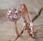 Luxury White Pink Stone Crystal Gold Color Wedding Engagement Rings