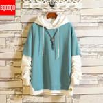 Hoodies Black Cotton Hooded Japanese Style Sweatshirt