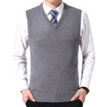 Solid Sweaters Vest Wool Pullover Brand V-Neck Sleeveless