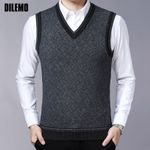 Fashion Brand Sweaters Pullovers V Neck Slim Fit Jumpers