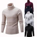Turtleneck Sweater Fashion Solid Knitted Sweaters Casual Double