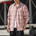 New Spring Casual Pink Plaid Shirt Slim Fit Wool Long Sleeve Shirts