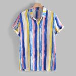 Plus Size Ethnic Printed Stand Collar Colorful Stripe Short Sleeve