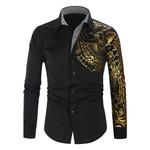 Luxury Gold Black Shirt New Slim Fit Long Sleeve Camisa