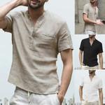 Cotton Linen Soid Color Short Sleeve Retro Shirts Tops Blouse