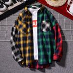 Loose Plaid Shirt Casual Jacket Student Shirt Plaid Long Sleeve Shirt