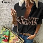 Sexy Leopard Stitching Blouse Clothing Celmia