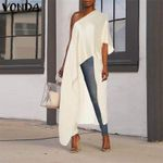Long Blouse Asymmetrical Tunic Sexy Off One Shoulder Party Shirts