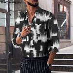 Fashion Shirt Print Long Sleeve Lapel Casual Camisa Masculina