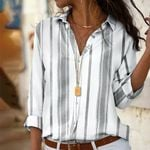 Striped Blouses Long Sleeve Turn Down Collar Office Shirt