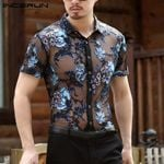 Fashion Short Sleeve Flower Embroidered Mesh Sexy Shirt