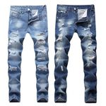 New Fashion Ripped Jeans Patchwork Hollow Out Printed Beggar Cropped