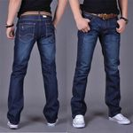 Straight Denim Jeans Navy Blue Solid Long Jeans New Fashion