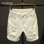 white Ripped Loose Straight Jeans Short Fashion Hip hop