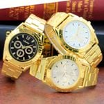 Golden Luxury Black Dial Gold Stainless Steel Calendar Date Quartz