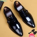 New Genuine Leather Pointed Toe Man Flat Classic Dress Shoes