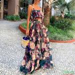 Boho New Sexy Chiffon Two Piece Set Crop Top Long Skirt Floral