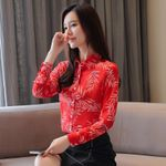 New Chiffon Blouse Boho Leaf Printed Turn-down Collar Shirts