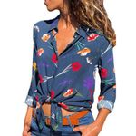 spring Chiffon Top Long Sleeve Printed Boho Shirt Casual Blouse