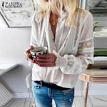 Ruffle Shirts White Blouse Casual Lantern Sleeve Chemise Lace