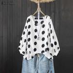 Fashion Polka Dot Lantern Sleeve Blouse Shirt Femininas Vintage