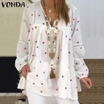 Blouse Vintage V Neck Star Printed Tops Long Lantern Sleeve