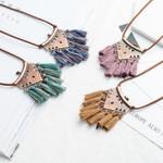 Vintage boho tassel necklace Ethnic bohemian long sweater chain