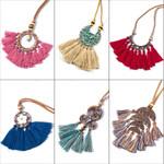 Vintage bohemian ethnic shells tassel pendant necklace jewelery