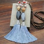 Colorful Tassel Natural Stone Pendant Necklace Statement Handmade