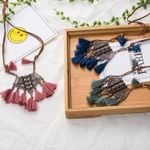 Vintage Boho Bohemian Ethnic Statement Tassel Pendant Necklace
