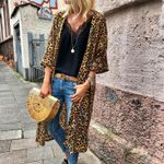 Boho Casual Shirt Loose Open Stitch Long Leopard Cardigan