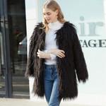 High Quality Hairy Long Faux Fur Coat Plus Size Slim Boho