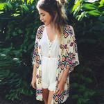 Sexy floral Chiffon Geometry Loose Shawl Kimono Cardigan Boho Coat Jacket