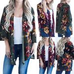 Boho Beach Floral Print Loose Blouse Kimono Cardigan