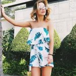 Sexy Floral Strapless Playsuits Romper Backless Boho