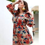 Rompers Jumpsuit Boho Floral Print Plus Size Overalls Lace Up Sexy