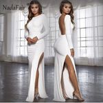 Backless Sexy Party Vestidos Long Sleeve High Side Split Maxi Dress