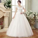 Ball Gown Wedding Plus Size Cheap White Lace Appliques Bride Dress